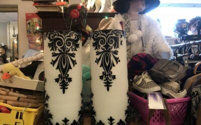 2 grote glazen vazen zwart/wit